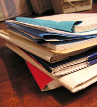 Large pile of court document files
