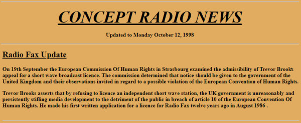 News report Radiofax case admissible at ECHR in Strasbourg in September 1998