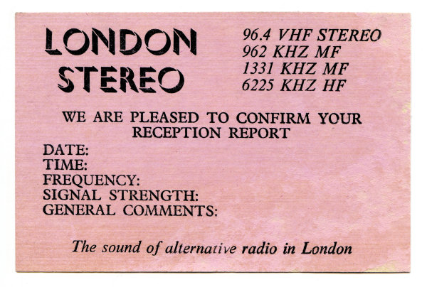 London Stereo station card QSL